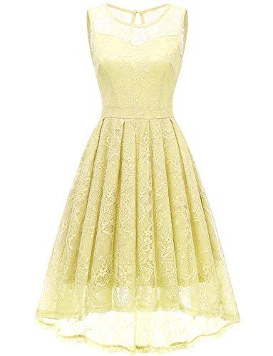 Gardenwed Damen Kleid Retro Ärmellos Kurz Brautjungfern Kleid Spitzenkleid Abendkleider CocktailKleid Partykleid Yellow XS