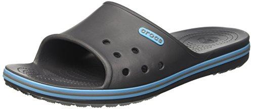 crocs Unisex-Erwachsene Crocband2Slide Pantoletten, Grau (Graphite/Electric Blue), 42-43 EU
