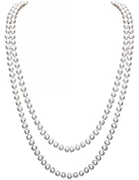 InnoBase 1920s Long Faux Pearl Necklace 1920's Accessories Great Gatsby Charleston Flapper Costume White Drop Pearls Beads Necklaces accessories for Women