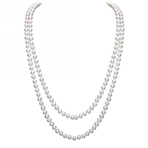 InnoBase Modische Lange Faux Perle Halskette Perlen Collier Kette 1920er Gatsby Kostüm Accessoires Perlenkette Damen für Abend Charleston Party 59