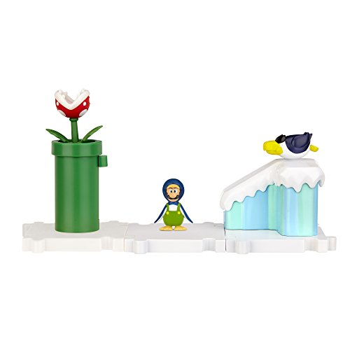 Mario Bros - World of Nintendo Micro Land Playset: Frosted Glacier with Penguin Luigi figura (Jakks Pacific JAKKNIN019FGPL)
