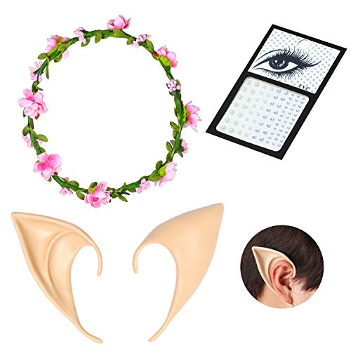 Fee Kostüm Zahn - Beelittle Latex Elf Ear Pixie Weiche Spitze Goblinohren Vampirzähne Zähne Anime Party Dress Up Kostümzubehör Maskerade Halloween Party Requisiten (D)