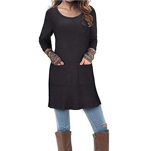 Mujer blusa otoño,Sonnena ❤️ Blusa de manga larga para mujer con bolsillo Blusa estampada de patchwork Tops camiseta