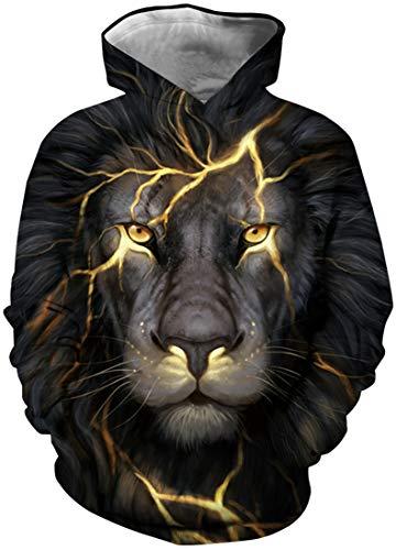 EUDOLAH Jungen Sweatshirts für 4-13 Alter Kinder Langarm 3D Druck Mehrfarbig Bunt Kids Herbst Winter Hemd mit Kaputzen A-Blitz Löwe XS Alter Sweatshirt