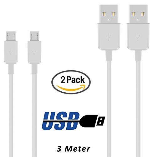 Preisvergleich Produktbild 2 x Samsung Galaxy S7 Edge Datenkabel / Ladekabel / Micro USB Premium Kabel in weiß - 3 Meter / 3m - von THESMARTGUARD