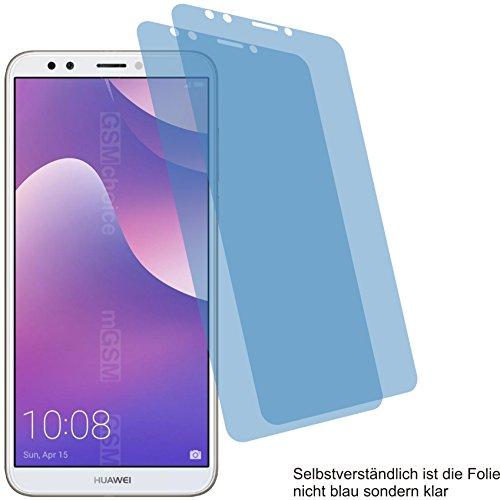 2x Crystal clear klar Schutzfolie für Huawei Y7 2018 Displayschutzfolie Bildschirmschutzfolie Schutzhülle Displayschutz Displayfolie Folie