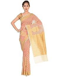 Paheli Women's Silk Saree (Beige and Pink)