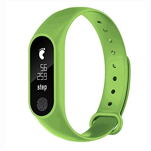 Bluetooth Smartwatch, 12shage M2 FitnessTracker Intelligente Armbanduhr Herzfrequenz Aktivität Schrittzähler (Grün,)