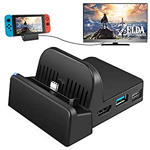 UKor Switch TV Dock, tragbarer Ladeständer für Nintendo Switch, kompakter Switch auf HDMI Adapter, Mini Switch Docking…