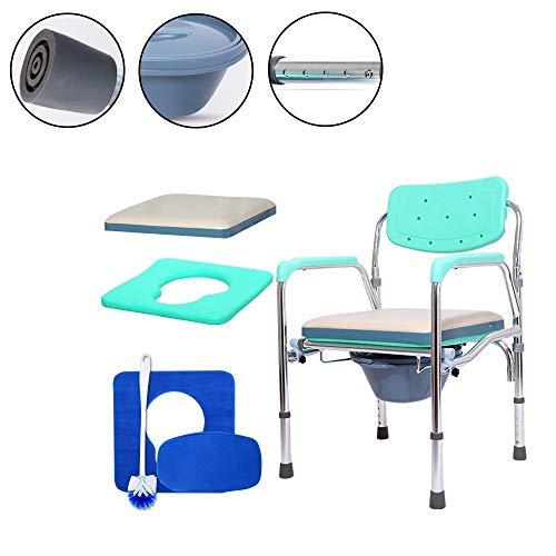 Bariatric Faltbare Rollstuhl (Gxyue Faltbare Kommode aus Aluminiumlegierung mit Eimer - Multifunktions-Toilettenstuhl für ältere und behinderte Menschen Assist)