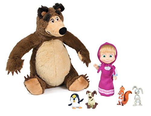Simba?Masha Puppe 12cm mit Plüsch Bär und Tiere, Mehrfarbig (9301012) Preisvergleich
