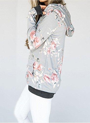 ShallGood Donna Floreale Stampato Felpa con Cappuccio Autunno Inverno Elegante Maniche Lunghe Sweatshirt Hoodie Hoody Pullover Grigio