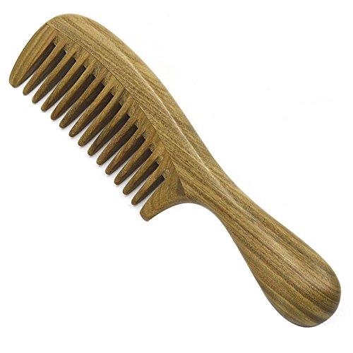 Vococal® Santal Cheveux En Bois Peigne de Massage,Poignée Ronde Et Épaisse Dent Large pour Cheveux Bouclés