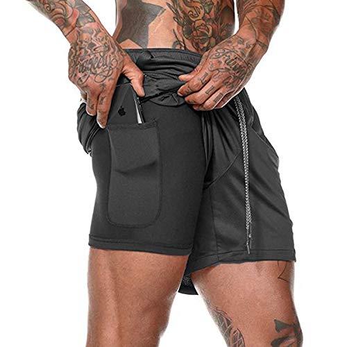 Airrioal Herren 2 in 1 Shorts Schnell trocknend Laufshorts Männer Fitness Laufhose Sport Hosen Trainingshose Mit Eingebaut Taschen -