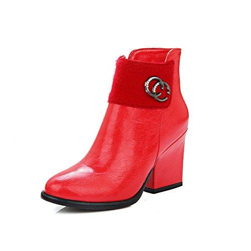 VogueZone009 Donna Bassa Altezza Puro Cerniera Punta Tonda Tacco Alto Stivali con Metallo Rosso