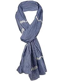 TigerTie plissé écharpe en bleu gris bleu blanc noir rayé ... c9ff3dd16e9