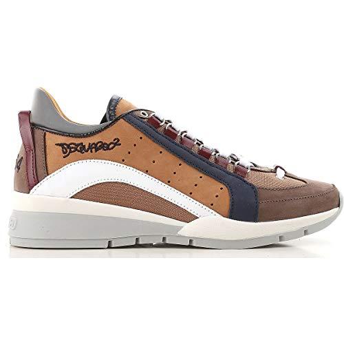 DSQUARED Scarpe camoscio e Tessuto Uomo Sneaker SNM0404 71800001 M612 Testa di Moro Cuoio Bianco (42.5 EU - 8.5 UK)