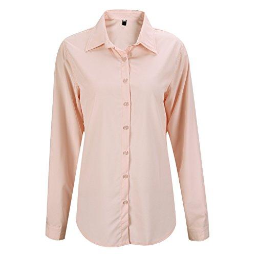 Petalum Damen Bluse Basic Elegant Taillierte Bluse Stehkragen Langarm Button Up Einfarbig Shirt Top Oberteil Damenmode Hemd Work Business-Look (Bluse Button-up Baumwolle)