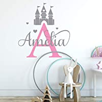 Personalised Princess Castle Wall Art Sticker Girls Baby Nursery Bedroom Any Name Text Initial Monogram Kids Childrens Custom Decal Mural Vinyl Room Decor