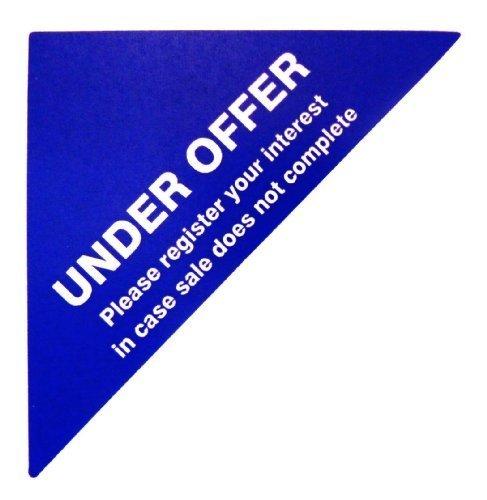 Etiquetas Para Viviendas En Venta , texto: BAJO OFERTA por favor, registre su interés en estuche sale no completo , Azul , Triángulo Grande , Inmuebles & Alquileres Agente pegatinas autoadhesivas