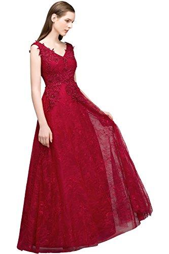 MisShow Damen elegant Spitze Applique Perlstickerei Ballkleid Brautjungfernkleid Abschlusskleid...