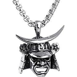 taPfPmFD Joyería Collar de Acero Inoxidable de los Hombres de Acero de Titanio de la Vendimia Samurai Casco Colgante