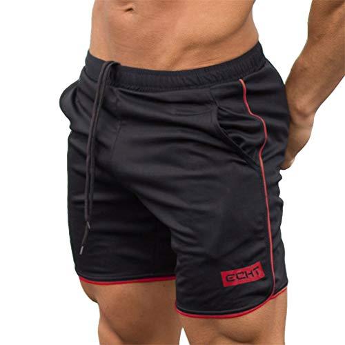 Kurze Hosen für Herren, Skxinn Fitness Basketball Trainingsshorts für Männer Hosen, Atmungsaktiv, Sommer Herren-Sporthosen Trainingshosen Workout Fitness Short Pants,Bodybuilding-Shorts(Rot,XL)