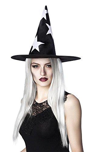 shoperama Schwarzer Hexenhut mit Langen weißen Haaren und Sternen Hut Halloween Hexe ()