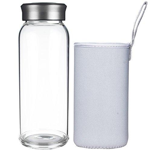 Justfwater Botella de Agua de Cristal 700 ml