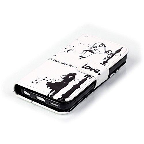 Nancen Apple iphone 5C (4,0 Zoll) Handyhülle, Bunt Nette Romantische Muster Flip Etui Case Cover Lederhülle PU leder Folio Bookstyle Schutzhülle mit Standfunktion, Brieftasche und Karte Tasche [Teenag Love kiss