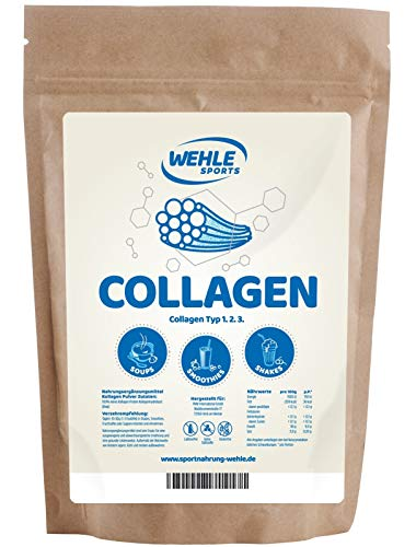 Collagen Pulver 1kg - Kollagen Hydrolysat - Eiweiß-Pulver Geschmacksneutral - Wehle Sports - Made in Germany Kollagen Typ 1 2 3 Lift Drink