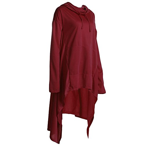 La Cabina Femmes Sweat-shirt à Manches Longues Pull à capuche Tops Longues Pullover Blouse Multicolore Casual Irrégulier pour Printemps Automne Hiver Vin rouge