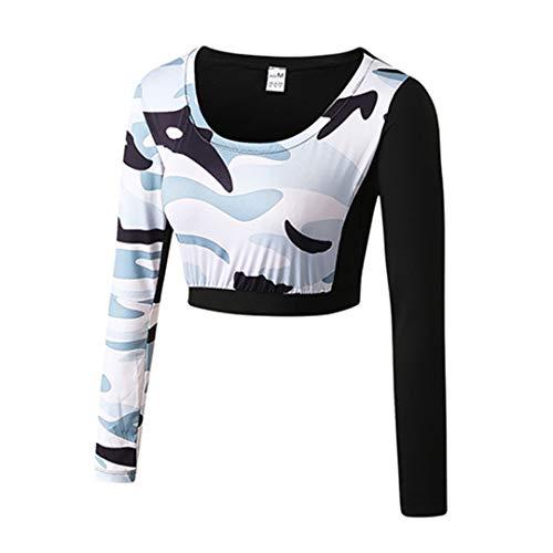 BDSGHAKE Tau Nabel Kleidung Sexy Girl Crop Top Fitness Enge Bluse Kostüm Gym Sportswear White Top XL - Jockey Crop Top