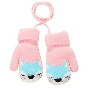 Guantes mágicos de punto para bebé con forro de felpa para colgar en el cuello, para niñas y niños de 1 a 3 años de edad rosa rosa 15