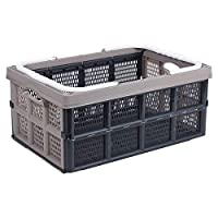 Excellent Houseware Collapsible Folding Plastic 32Lt Storage Shopping Basket Box Crate with Handle (Pastel Brown)