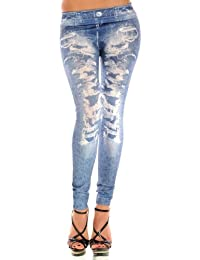 Balingi Legging en jean avec motif détruit BA10068