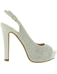 0e452beacd5 XTI Nude Microfiber Ladies Shoes, Zapatos de Tacón con Punta Abierta para  Mujer