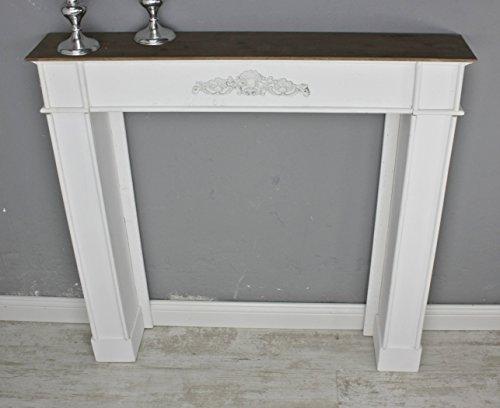 elbmöbel Kaminumrandung aus Holz in weiß und braun für Elektrokamin und Gelkamin (4401)