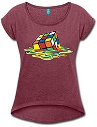 a6f44f0d26213 Spreadshirt Rubik s Cube en Train De Fondre T-Shirt à Manches retroussées  Femme
