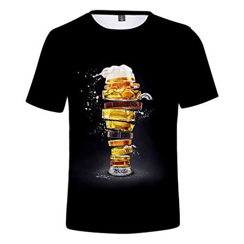 Fun-Bekleidung T-Shirt Oktoberfest Kostüm für Damen Und Herren,Unisex Lovers 3D Beer Festival Druck Runder Kragen Kurzarm T-Shirt Tops - Wide Sleeve Print Kleid