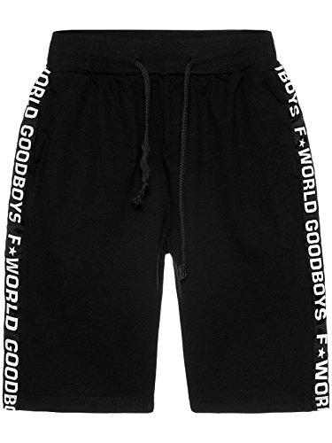 Jungen Shorts Kurze Hose Kinder Bermuda Capri Sommer Hosen Jungs Strech 22663, Farbe:Schwarz, Größe:152