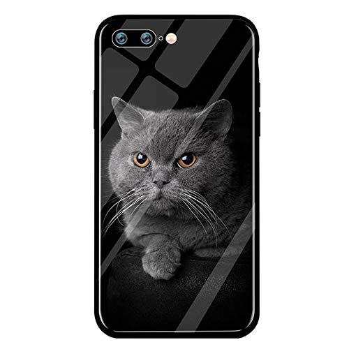 t iPhone 8 Hülle iPhone 8 Plus Gehärtetes Glas Rückseite Handyhülle Katze und Hund Rahmen Schutzhülle Glashülle Klar Dünn Hüllen Handytasche (4, iPhone 8) ()