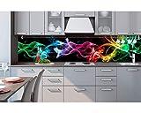 Küchenrückwand Folie selbstklebend SCHWARZER RAUCH 260 x 60 cm | Klebefolie - Dekofolie - Spritzchutz für Küche | PREMIUM QUALITÄT