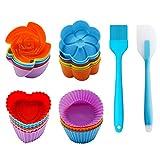 Stampo per Muffin in Silicone Riutilizzabile Pirottini da Forno Riutilizzabili per 26 Pezzi Set con 24 Stampi per Muffin + 1 Spatola in Silicone + 1 Pennello per Dolci LFGB Certificato E Senza BPA