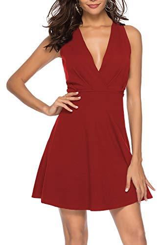 ZJCTUO Damen Kleider Sexy Tiefe V-Ausschnitt Ärmellos Jerseykleid Cocktailkleid Partykleid Sommerkleid Skaterkleid Festliches Kleid