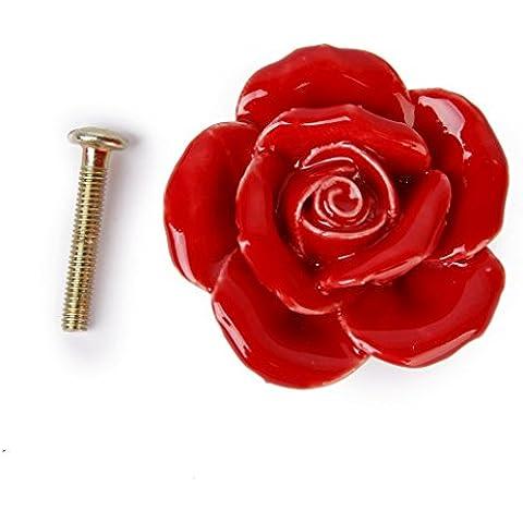 Un Par de Tiradores Pomos Manijas en Forma de Flor Rosa de Cerámica de Color Rojo