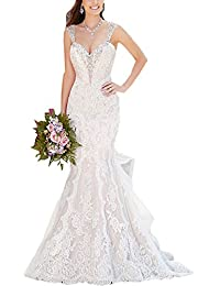 Changjie Donna Sexy Sirena vestito chiaroveggente abito da sposa di perline  applique pizzo 95ad9c1fa6d
