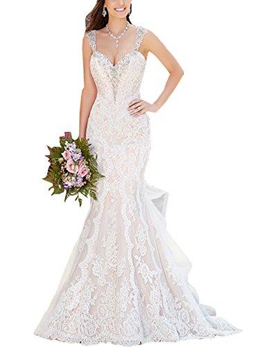 Changjie Damen Meerjungfrau R¨¹ckenfrei Brautkleider Hochzeitskleider Spitze