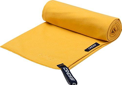 Cressi fast drying, asciugamano sportivo in microfibra unisex-adulto, giallo, 90 x 180 cm