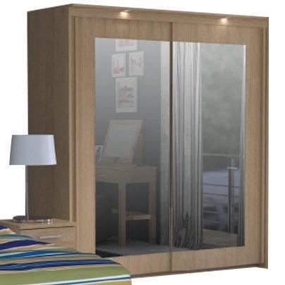 Bronte 2 Door Sliding Mirrored Wardrobe Oak Effect